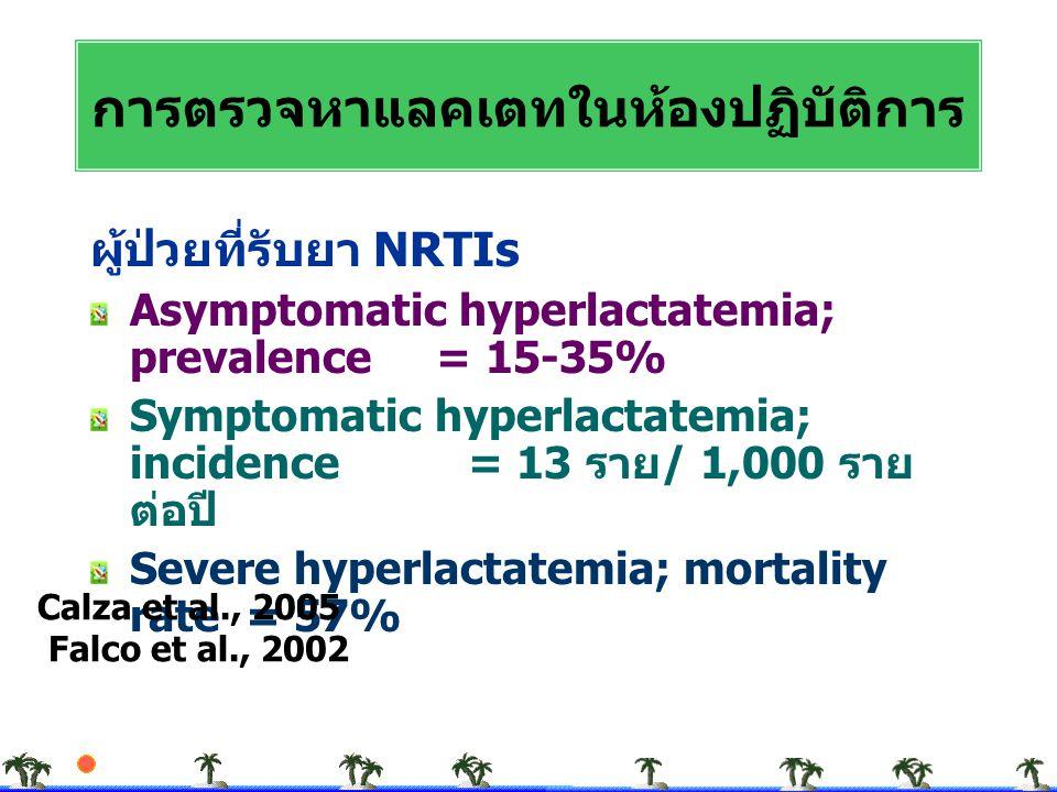 ผู้ป่วยที่รับยา NRTIs Asymptomatic hyperlactatemia; prevalence = 15-35% Symptomatic hyperlactatemia; incidence = 13 ราย / 1,000 ราย ต่อปี Severe hyper