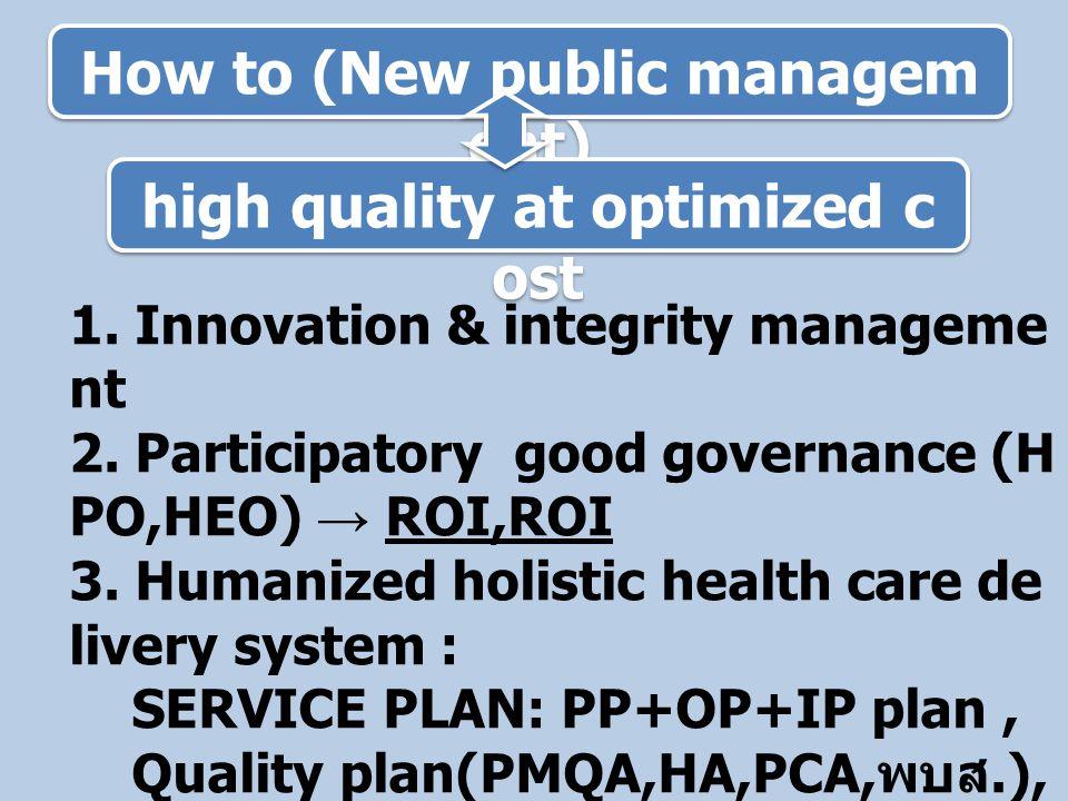 Budget plan & Business plan Strategic issue 1 วินัยการเงินการคลัง - Balance of power - Medium term I/E 3-5yrs ครอบคลุมค่าใช้จ่าย ทุกประเภท Strategic issue 2 ประโยชน์สูงสุดของประชาชน - การตลาดภาครัฐ - ผลลัพธ์ - ผลผลิต - กิจกรรม - ต้นทุน - งบประมาณ - Monitoring, auditing, evaluation Strategic issue 3 ประสิทธิภาพการบริหารจัดการ - Internal contractual management - Activity based costing/management - Performance based payment