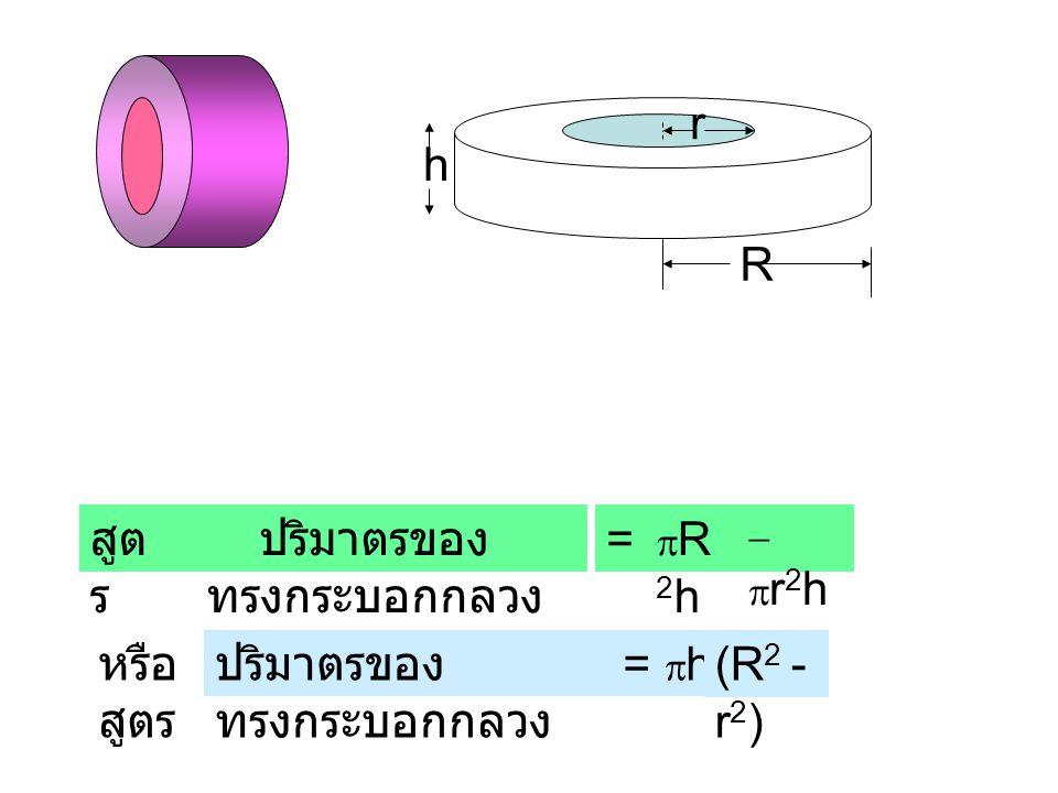 ปริมาตรของ ทรงกระบอกกลวง R2hR2h สูต ร = -r2h-r2h ปริมาตรของ ทรงกระบอกกลวง หรือ สูตร = hh (R 2 - r 2 ) r R h