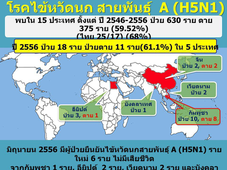 โรคไข้หวัดนก สายพันธุ์ A (H5N1) ณ 4 มิ. ย.56 พบใน 15 ประเทศ ตั้งแต่ ปี 2546-2556 ป่วย 630 ราย ตาย 375 ราย (59.52%) ( ไทย 25/17) (68%) ปี 2556 ป่วย 18
