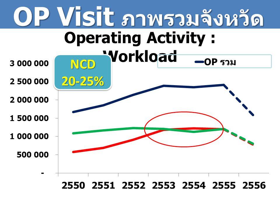 IP Visit ภาพรวม จังหวัด Operating Activity : Workload 50% Admit รพ.