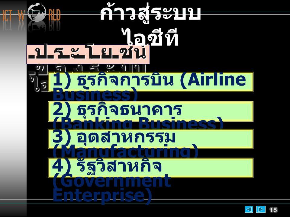 ประโยชน์ ของระบบ ไอซีที 1) ธุรกิจการบิน (Airline Business) 2) ธุรกิจธนาคาร (Banking Business) 3) อุตสาหกรรม (Manufacturing) 4) รัฐวิสาหกิจ (Government Enterprise) ก้าวสู่ระบบ ไอซีที