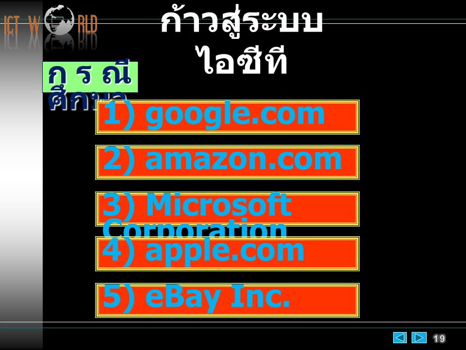 กรณี ศึกษา 1) google.com 2) amazon.com 3) Microsoft Corporation 4) apple.com 5) eBay Inc.