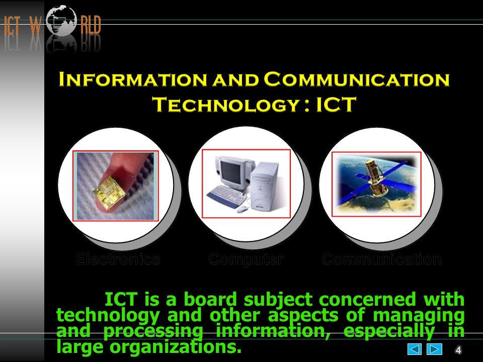 ก้าวสู่ระบบ ไอซีที ระบบไอซีทีจะมาจาก 3 ส่วน ที่สำคัญ คือ อิเล็กทรอนิกส์ (Electronics), คอมพิวเตอร์ (Computer) และการสื่อสาร (Communication)