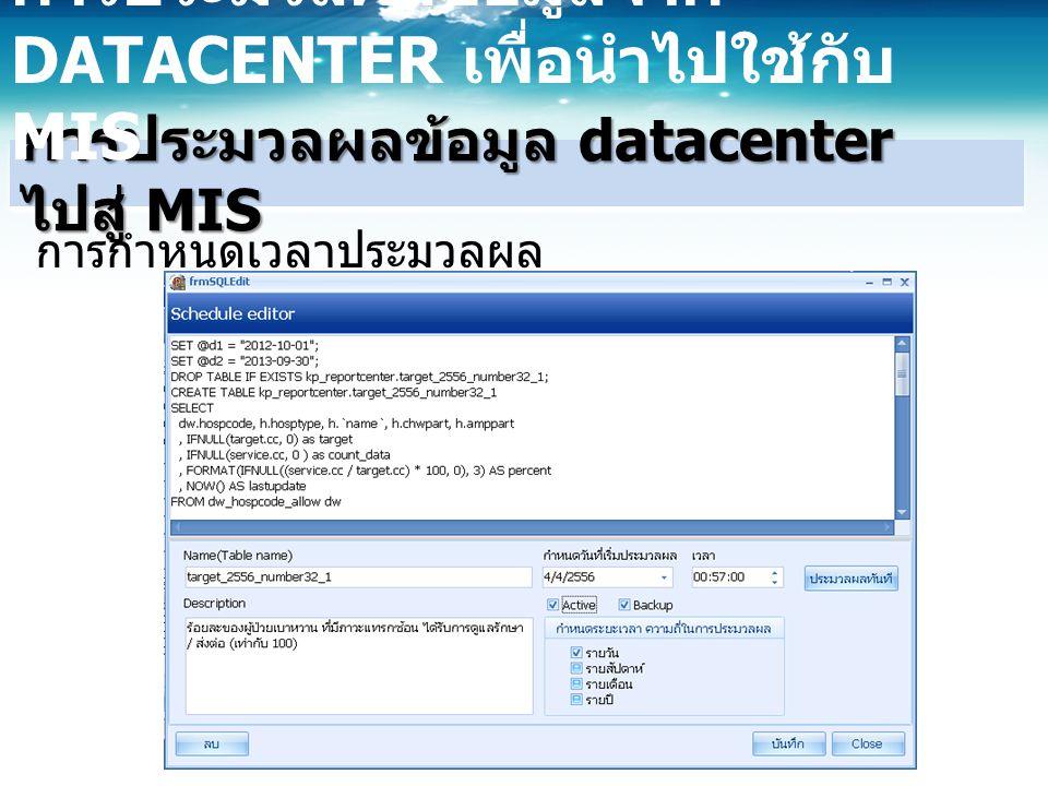 การประมวลผลข้อมูล datacenter ไปสู่ MIS การประมวลผลข้อมูลจาก DATACENTER เพื่อนำไปใช้กับ MIS การกำหนดเวลาประมวลผล
