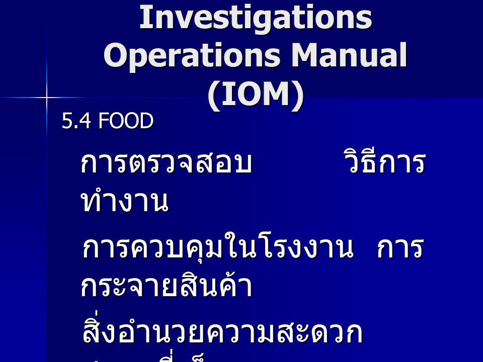 Investigations Operations Manual (IOM) 5.4 FOOD การตรวจสอบ วิธีการ ทำงาน การควบคุมในโรงงาน การ กระจายสินค้า การควบคุมในโรงงาน การ กระจายสินค้า สิ่งอำนวยความสะดวก สถานที่เก็บ สิ่งอำนวยความสะดวก สถานที่เก็บ