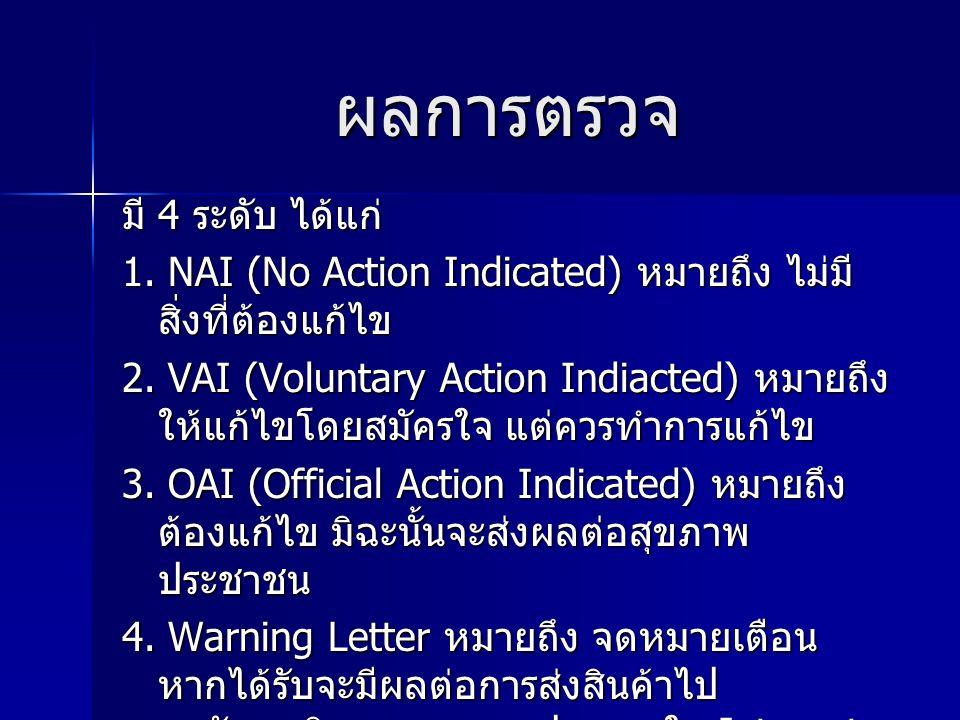 ผลการตรวจ มี 4 ระดับ ได้แก่ 1. NAI (No Action Indicated) หมายถึง ไม่มี สิ่งที่ต้องแก้ไข 2. VAI (Voluntary Action Indiacted) หมายถึง ให้แก้ไขโดยสมัครใจ