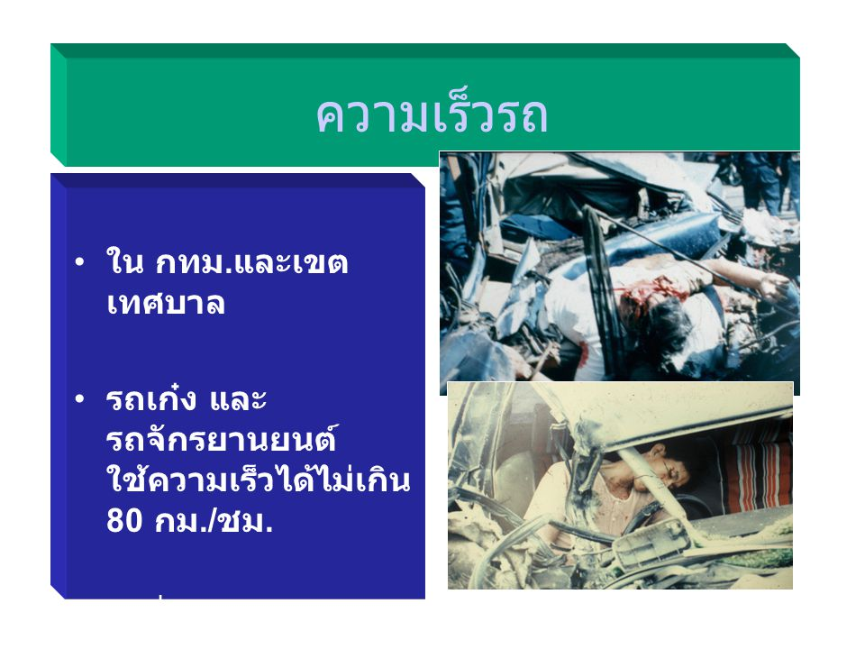คาดเข็มขัดนิรภัย ต้องคาดเข็มขัด นิรภัยขณะขับรถ ตลอดเวลา ผู้นั่งตอนหน้าคู่ คนขับต้องคาดเข็ม ขัดนิรภัยด้วย ไม่คาดเข็มขัด โทษ ปรับไม่เกิน 500 บาท ตัดคะแน