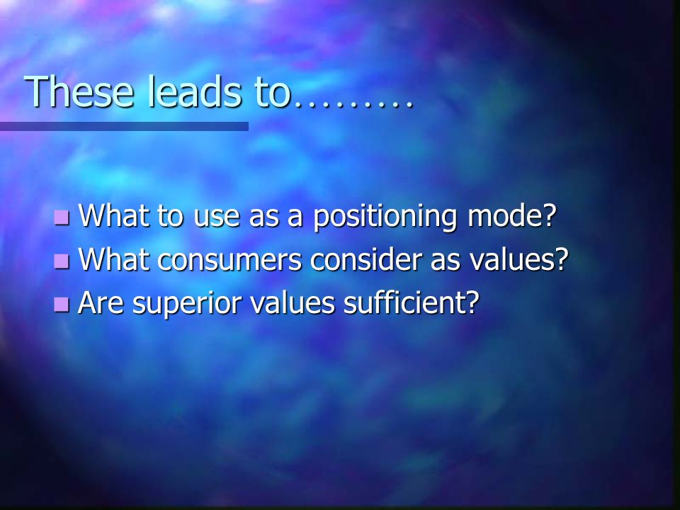 These leads to ……… What to use as a positioning mode.