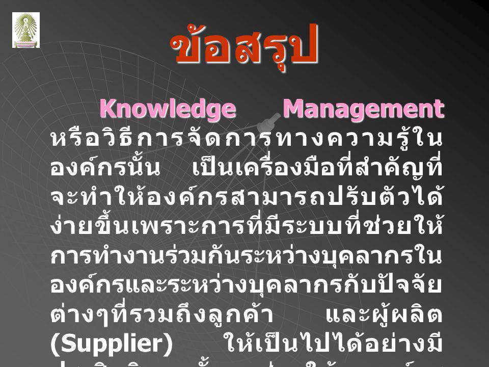 ข้อสรุป Knowledge Management Knowledge Management หรือวิธีการจัดการทางความรู้ใน องค์กรนั้น เป็นเครื่องมือที่สำคัญที่ จะทำให้องค์กรสามารถปรับตัวได้ ง่ายขึ้นเพราะการที่มีระบบที่ช่วยให้ การทำงานร่วมกันระหว่างบุคลากรใน องค์กรและระหว่างบุคลากรกับปัจจัย ต่างๆที่รวมถึงลูกค้า และผู้ผลิต (Supplier) ให้เป็นไปได้อย่างมี ประสิทธิภาพนั้นจะช่วยให้ องค์กร สามารถบรรลุผลที่ต้องการได้มาก ขึ้น