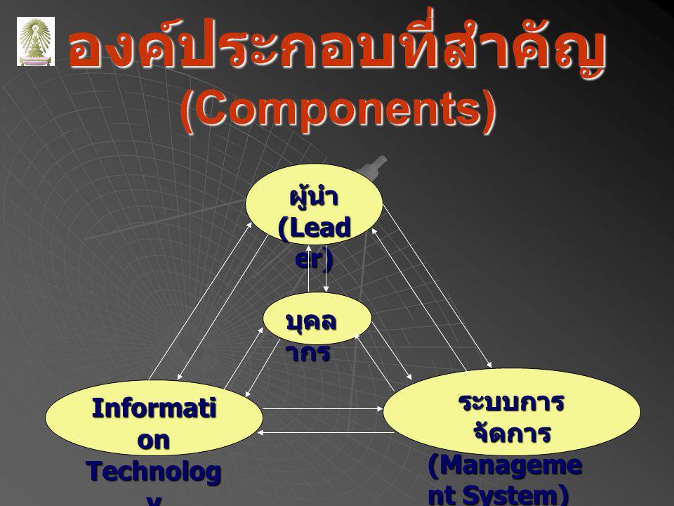 องค์ประกอบที่สำคัญ (Components) ผู้นำ (Lead er) ระบบการ จัดการ (Manageme nt System) Informati on Technolog y บุคล ากร