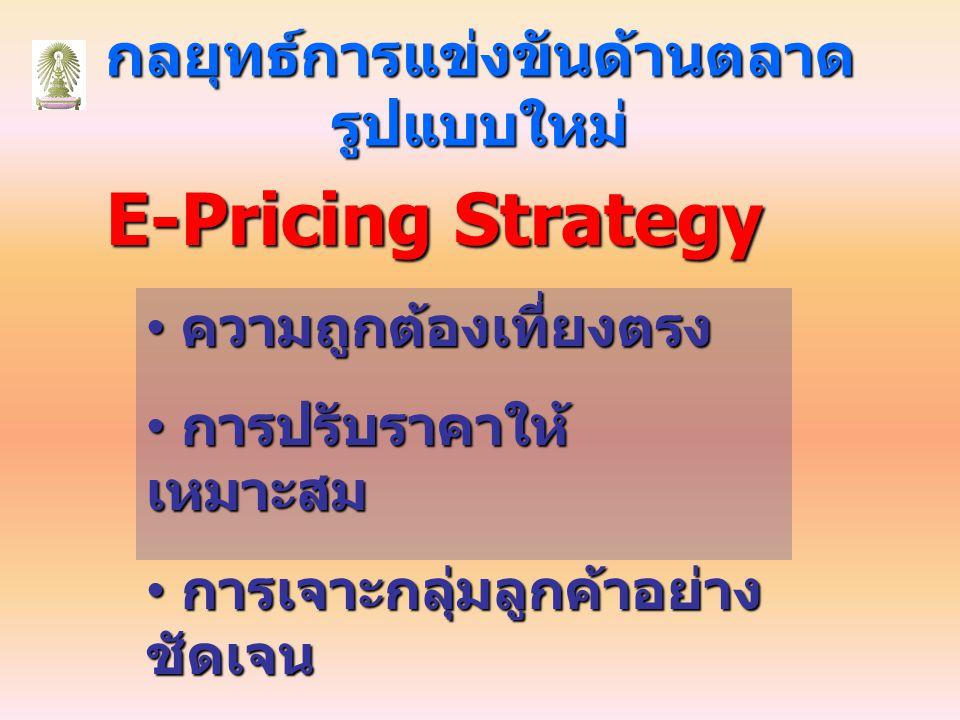 กลยุทธ์การแข่งขันด้านตลาด รูปแบบใหม่ E-Pricing Strategy ความถูกต้องเที่ยงตรง ความถูกต้องเที่ยงตรง การปรับราคาให้ เหมาะสม การปรับราคาให้ เหมาะสม การเจาะกลุ่มลูกค้าอย่าง ชัดเจน การเจาะกลุ่มลูกค้าอย่าง ชัดเจน