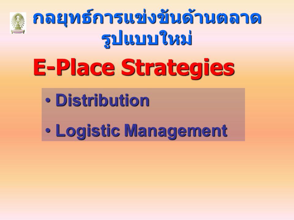 กลยุทธ์การแข่งขันด้านตลาด รูปแบบใหม่ E-Place Strategies Distribution Distribution Logistic Management Logistic Management