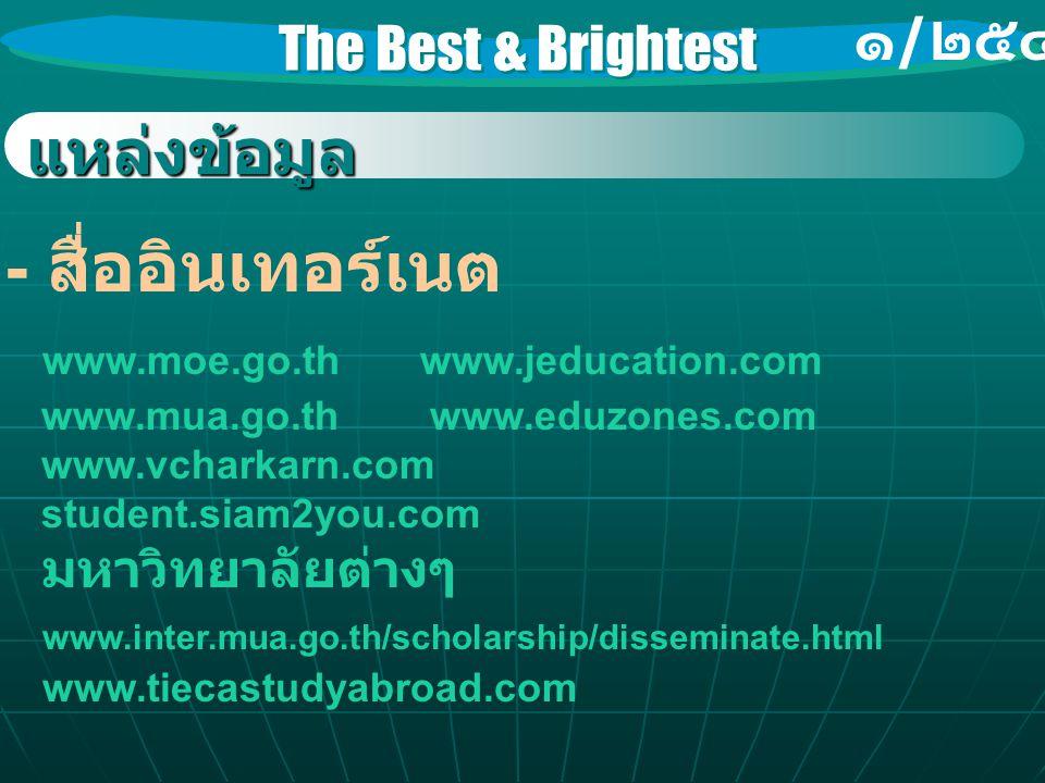 The Best & Brightest ๑ / ๒๕๔๖ แหล่งข้อมูล - สื่ออินเทอร์เนต www.moe.go.th www.jeducation.com www.mua.go.th www.eduzones.com www.vcharkarn.com student.siam2you.com มหาวิทยาลัยต่างๆ www.inter.mua.go.th/scholarship/disseminate.html www.tiecastudyabroad.com