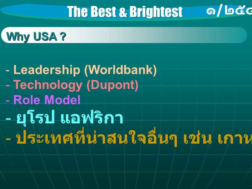 The Best & Brightest ๑ / ๒๕๔๖ Why USA ? - Leadership (Worldbank) - Technology (Dupont) - Role Model - ยุโรป แอฟริกา - ประเทศที่น่าสนใจอื่นๆ เช่น เกาหล