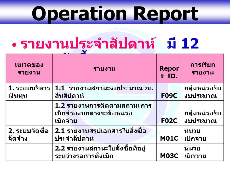 www.gfmis.go.th Operation Report รายงานประจำสัปดาห์ มี 12 รายงานดังนี้ หมวดของ รายงาน รายงาน Repor t ID. การเรียก รายงาน 1. ระบบบริหาร เงินทุน 1.1 ราย