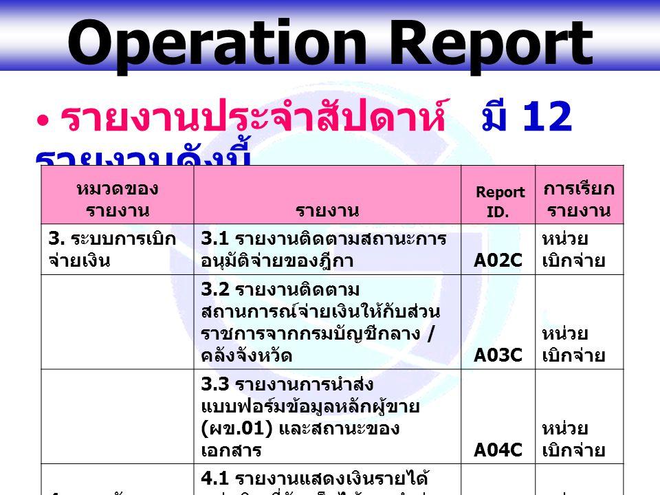 www.gfmis.go.th Operation Report รายงานประจำสัปดาห์ มี 12 รายงานดังนี้ หมวดของ รายงานรายงาน Report ID. การเรียก รายงาน 3. ระบบการเบิก จ่ายเงิน 3.1 ราย