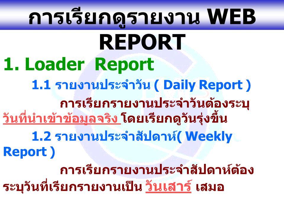 www.gfmis.go.th การเรียกดูรายงาน WEB REPORT 1. Loader Report 1.1 รายงานประจำวัน ( Daily Report ) การเรียกรายงานประจำวันต้องระบุ วันที่นำเข้าข้อมูลจริง