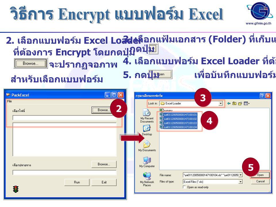 www.gfmis.go.th 2. เลือกแบบฟอร์ม Excel Loader ที่ต้องการ Encrypt โดยกดปุ่ม 2 3 4 5 จะปรากฏจอภาพ สำหรับเลือกแบบฟอร์ม 3. เลือกแฟ้มเอกสาร (Folder) ที่เก็