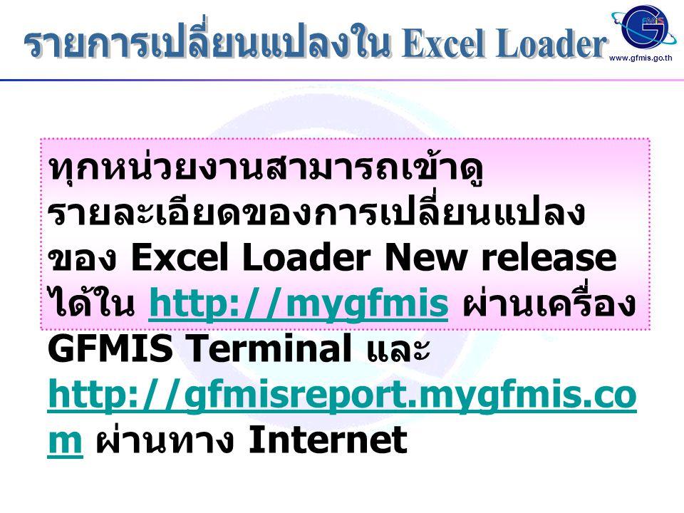 www.gfmis.go.th ทุกหน่วยงานสามารถเข้าดู รายละเอียดของการเปลี่ยนแปลง ของ Excel Loader New release ได้ใน http://mygfmis ผ่านเครื่อง GFMIS Terminal และ h