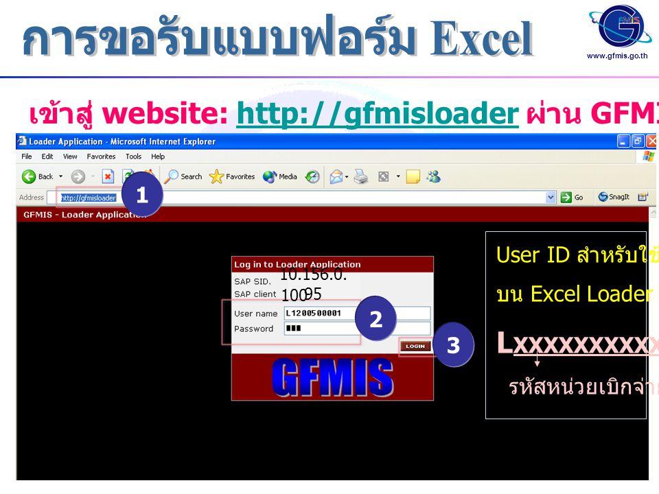 www.gfmis.go.th 1 2 3 เข้าสู่ website: http://gfmisloader ผ่าน GFMIS Terminalhttp://gfmisloader User ID สำหรับใช้งาน บน Excel Loader ดังนี้ L XXXXXXXX
