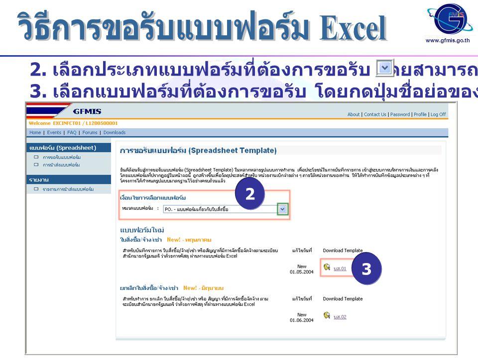 www.gfmis.go.th 2. เลือกประเภทแบบฟอร์มที่ต้องการขอรับ โดยสามารถกดปุ่ม 2 3 3. เลือกแบบฟอร์มที่ต้องการขอรับ โดยกดปุ่มชื่อย่อของแบบฟอร์ม เช่น บส 01