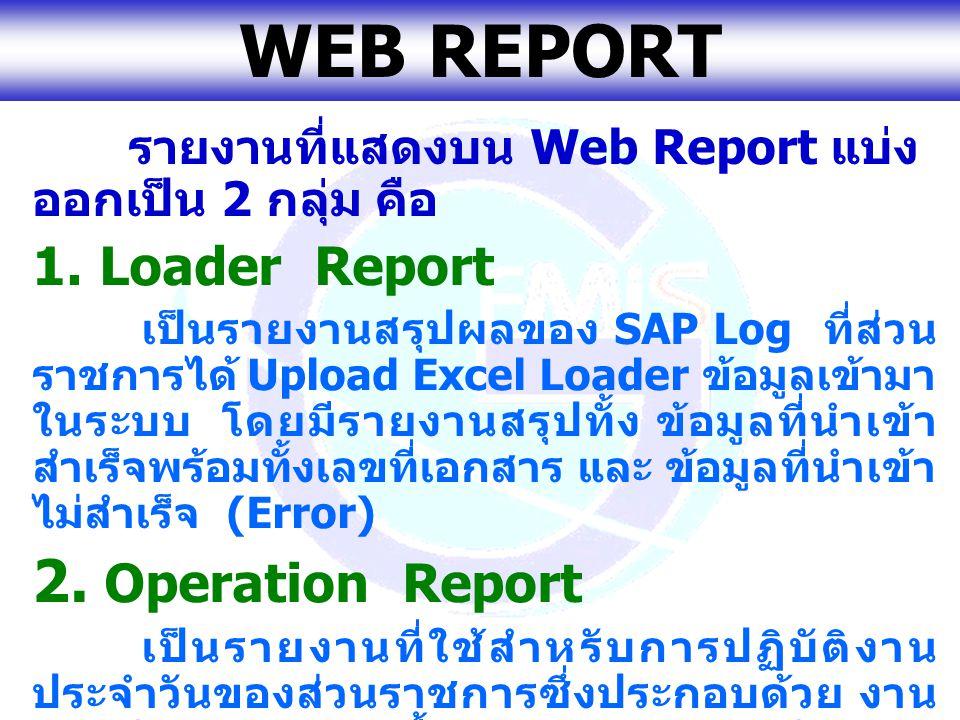 www.gfmis.go.th WEB REPORT รายงานที่แสดงบน Web Report แบ่ง ออกเป็น 2 กลุ่ม คือ 1. Loader Report เป็นรายงานสรุปผลของ SAP Log ที่ส่วน ราชการได้ Upload E