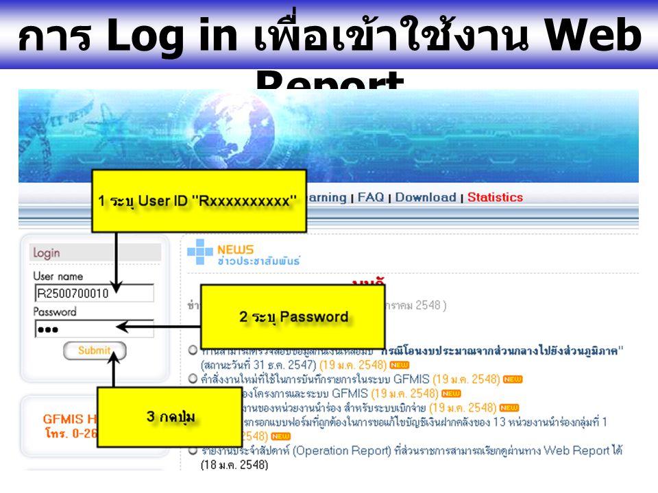 www.gfmis.go.th รายงานประจำสัปดาห์ (Operation Report) ที่ส่วนราชการสามารถเรียกดู ผ่านทาง Web Report รายงานประจำสัปดาห์ที่ 1/ ปี 2548