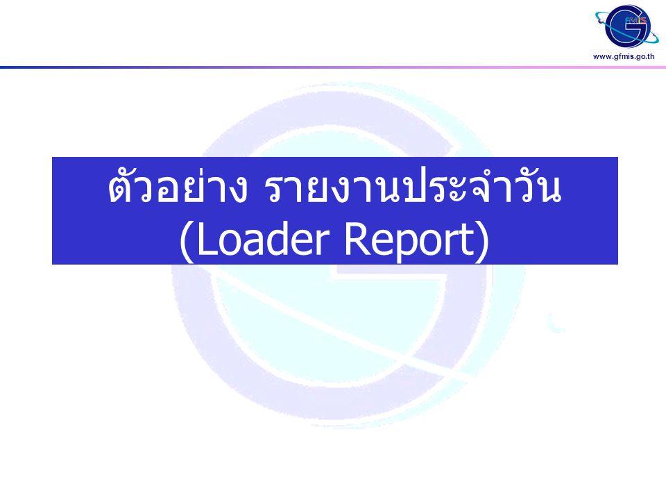 www.gfmis.go.th รายงานขอเบิกเงินนอกงบประมาณ ( จากการนำส่งแบบฟอร์ม ขบ.03) วันที่รายงาน 07.02.2005 06:10:21 รายการนำส่งแบบฟอร์ม หน้า : 1 วันที่นำส่งข้อมูล 06.02.2005-06.02.2005 แบบฟอร์มที่นำส่งสำเร็จ สถานะของเอกสาร : ระงับการชำระเงิน E - Excel Loader A ขบ.03
