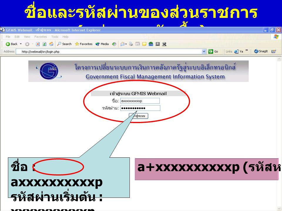 www.gfmis.go.th กรมบัญชี กลาง ชื่อและรหัสผ่านของส่วนราชการ ( หน่วยงานจัดซื้อ ) ชื่อ : axxxxxxxxxxp รหัสผ่านเริ่มต้น : xxxxxxxxxxp a+xxxxxxxxxxp ( รหัส