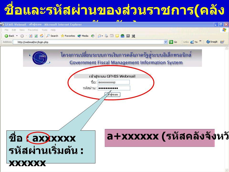 www.gfmis.go.th กรมบัญชี กลาง ชื่อและรหัสผ่านของส่วนราชการ ( คลัง จังหวัด ) ชื่อ : axxxxxx รหัสผ่านเริ่มต้น : xxxxxx a+xxxxxx ( รหัสคลังจังหวัด )