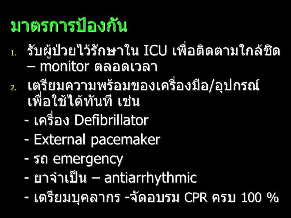 มาตรการป้องกัน 1. รับผู้ป่วยไว้รักษาใน ICU เพื่อติดตามใกล้ชิด – monitor ตลอดเวลา 2. เตรียมความพร้อมของเครื่องมือ/อุปกรณ์ เพื่อใช้ได้ทันที เช่น - เครื่
