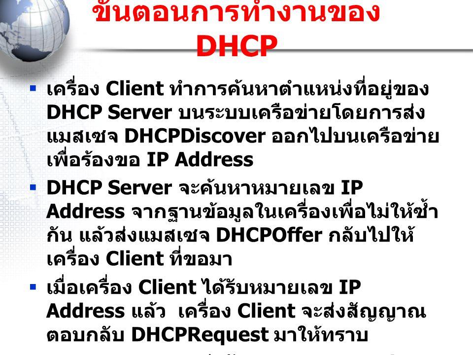 ขั้นตอนการทำงานของ DHCP  เครื่อง Client ทำการค้นหาตำแหน่งที่อยู่ของ DHCP Server บนระบบเครือข่ายโดยการส่ง แมสเซจ DHCPDiscover ออกไปบนเครือข่าย เพื่อร้