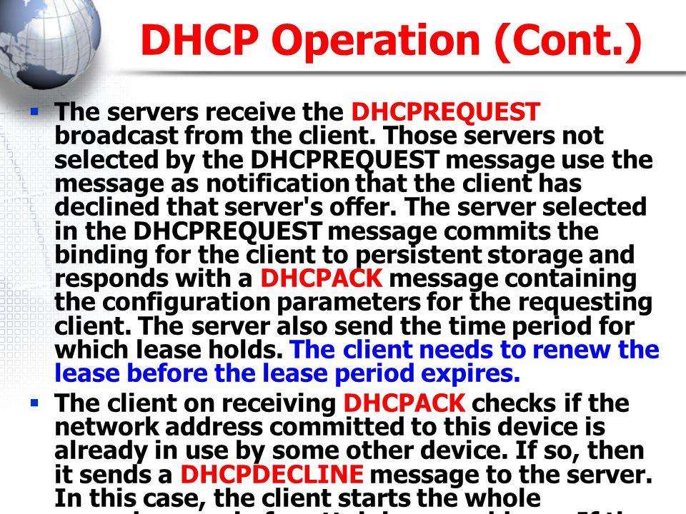 สิ่งที่ DHCP Server จ่ายให้ Client  IP Address  Subnet mask  Default Gateway  DNS Address  WINS Server IP  NTP Server  Etc.