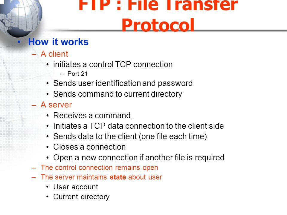 การสร้างส่วนเชื่อมโยงข้อมูล  FTP ใช้พอร์ต TCP 21 ในการส่งผ่านคำสั่ง ควบคุมและใช้พอร์ต TCP 20 ส่งข้อมูล  จากรูปสมมุติพอร์ตประจำส่วนเชื่อมโยงควบคุม ของ Client คือ 1124 และเตรียมพอร์ต 1125 รอไว้สำหรับส่วนเชื่อมโยงข้อมูล