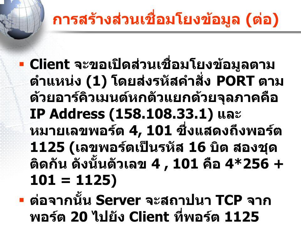 การสร้างส่วนเชื่อมโยงข้อมูล ( ต่อ )  Client จะขอเปิดส่วนเชื่อมโยงข้อมูลตาม ตำแหน่ง (1) โดยส่งรหัสคำสั่ง PORT ตาม ด้วยอาร์คิวเมนต์หกตัวแยกด้วยจุลภาคคื