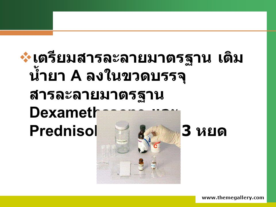 www.themegallery.com  เตรียมสารละลายมาตรฐาน เติม น้ำยา A ลงในขวดบรรจุ สารละลายมาตรฐาน Dexamethasone และ Prednisolone ขวดละ 3 หยด