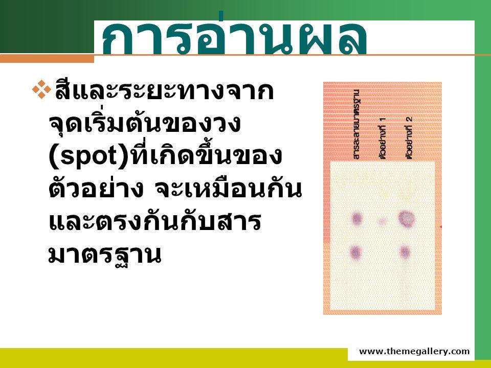 www.themegallery.com การอ่านผล  สีและระยะทางจาก จุดเริ่มต้นของวง (spot) ที่เกิดขึ้นของ ตัวอย่าง จะเหมือนกัน และตรงกันกับสาร มาตรฐาน