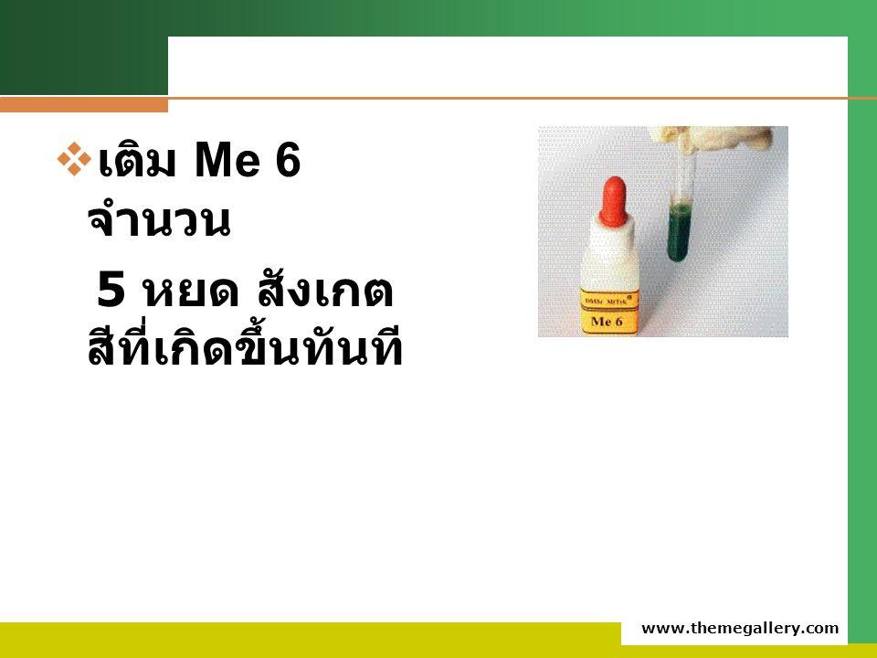 www.themegallery.com  เติม Me 6 จำนวน 5 หยด สังเกต สีที่เกิดขึ้นทันที