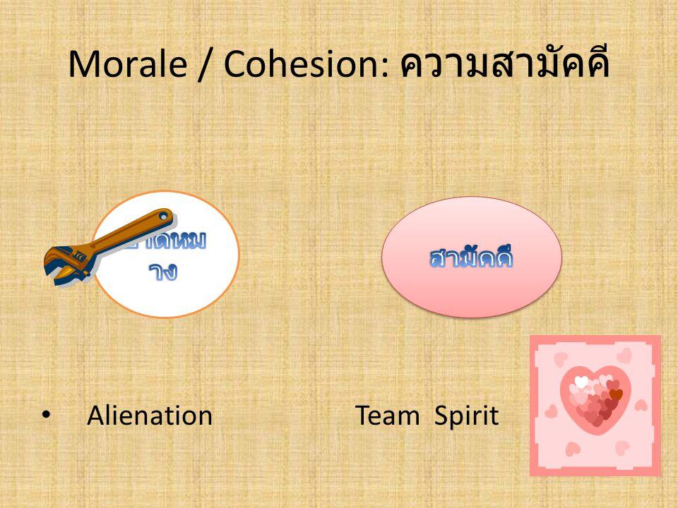 Morale / Cohesion: ความสามัคคี Alienation Team Spirit