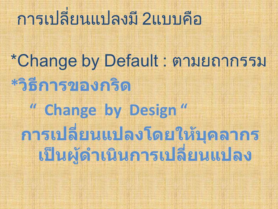"""การเปลี่ยนแปลงมี 2แบบคือ *Change by Default : ตามยถากรรม * วิธีการของกริด """" Change by Design """" การเปลี่ยนแปลงโดยให้บุคลากร เป็นผู้ดำเนินการเปลี่ยนแปลง"""