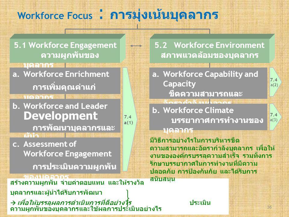 Workforce Focus : การมุ่งเน้นบุคลากร 36 a.Workforce EnrichmentWorkforce Enrichment การเพิ่มคุณค่าแก่ บุคลากร 5.1 Workforce Engagement ความผูกพันของ บุ