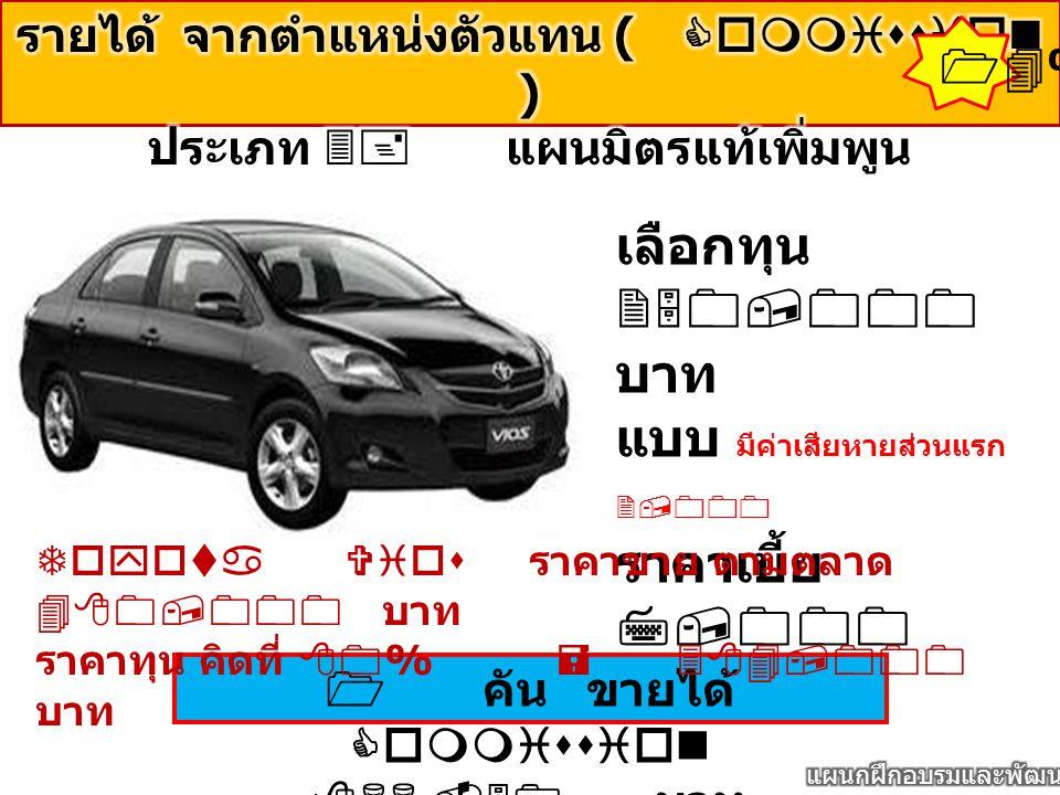 14% เลือกทุน 250,000 บาท แบบ มีค่าเสียหายส่วนแรก 2,000 ราคาเบี้ย 7,000 บาท 1 คัน ขายได้ Commission 866.50 บาท Toyota Vios ราคาขาย ตามตลาด 480,000 บาท ราคาทุน คิดที่ 80% = 384,000 บาท