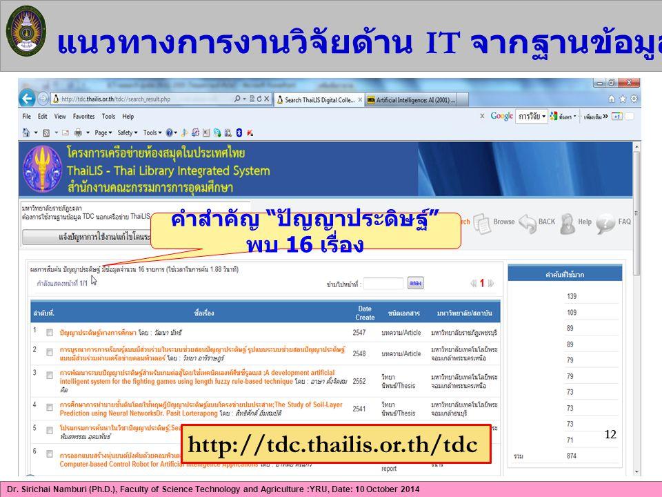 Dr. Sirichai Namburi (Ph.D.), Faculty of Science Technology and Agriculture :YRU, Date: 10 October 2014 แนวทางการงานวิจัยด้าน IT จากฐานข้อมูล ThaiLIS