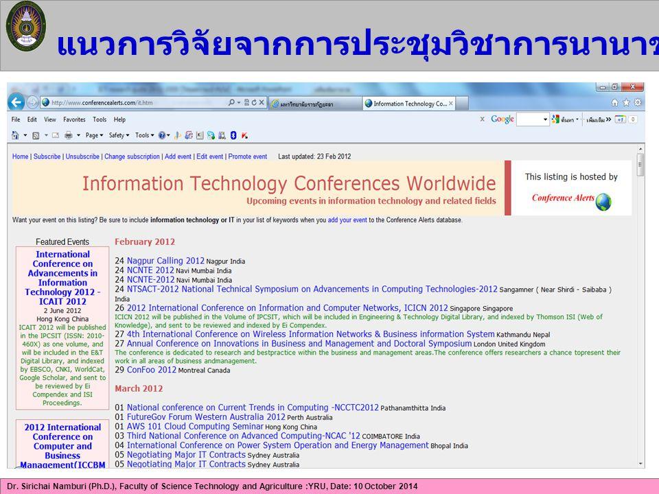 Dr. Sirichai Namburi (Ph.D.), Faculty of Science Technology and Agriculture :YRU, Date: 10 October 2014 แนวการวิจัยจากการประชุมวิชาการนานาชาติด้าน ICT