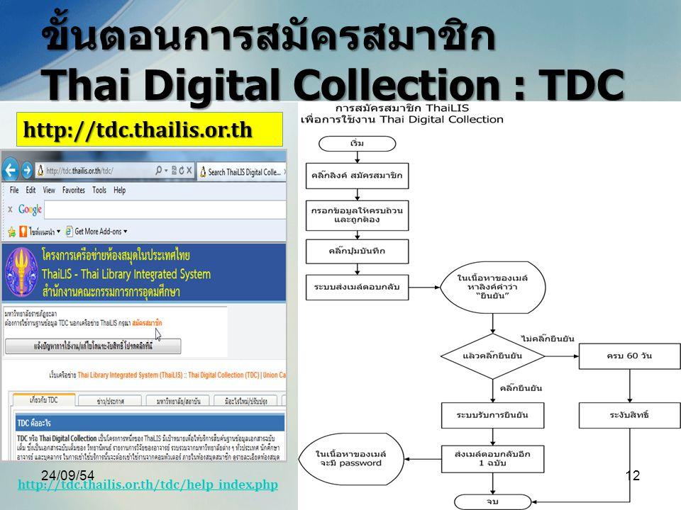 ขั้นตอนการสมัครสมาชิก Thai Digital Collection : TDC http://tdc.thailis.or.th http://tdc.thailis.or.th/tdc/help_index.php 24/09/5412