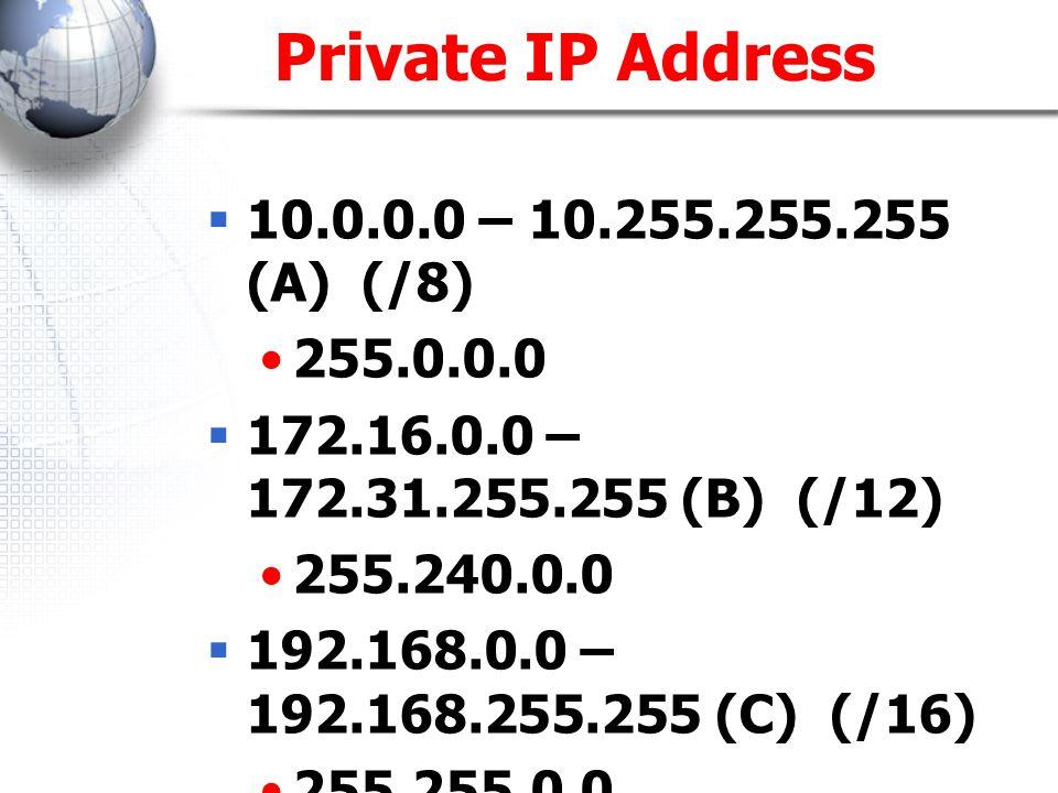 Private IP Address  10.0.0.0 – 10.255.255.255 (A) (/8) 255.0.0.0  172.16.0.0 – 172.31.255.255 (B) (/12) 255.240.0.0  192.168.0.0 – 192.168.255.255