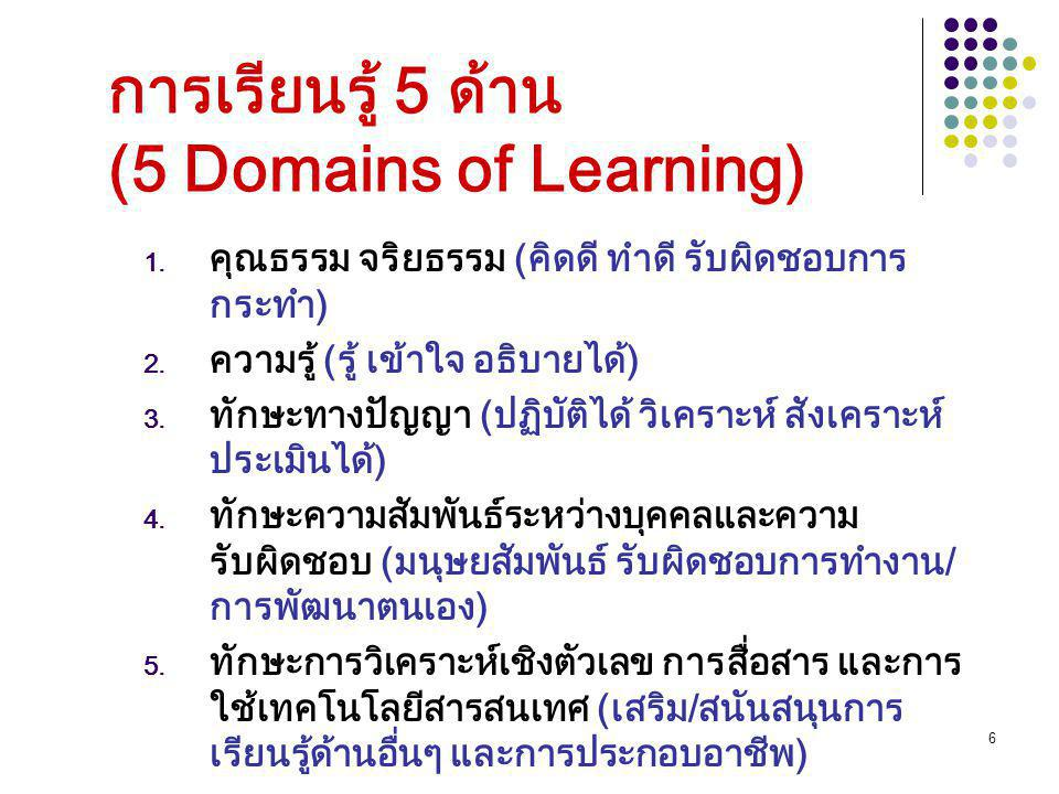 6 การเรียนรู้ 5 ด้าน (5 Domains of Learning) 1. คุณธรรม จริยธรรม (คิดดี ทำดี รับผิดชอบการ กระทำ) 2. ความรู้ (รู้ เข้าใจ อธิบายได้) 3. ทักษะทางปัญญา (ป