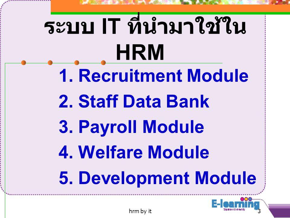 hrm by it3 ระบบ IT ที่นำมาใช้ใน HRM 1.Recruitment Module 2.