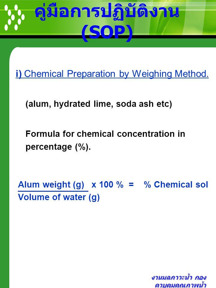 งานมลภาวะน้ำ กอง ควบคุมคุณภาพน้ำ คู่มือการปฏิบัติงาน (SOP) i) Chemical Preparation by Weighing Method. (alum, hydrated lime, soda ash etc) Formula for